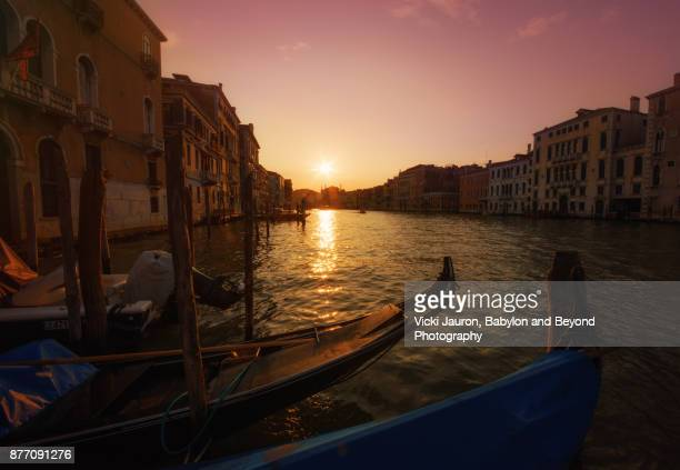 Sunset Along the Grand Canal in Venice, Italy