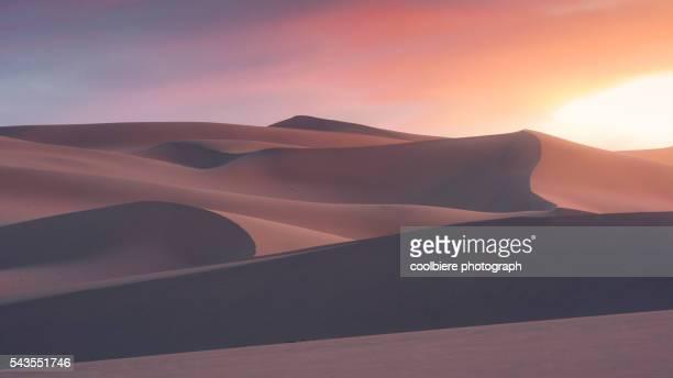 Sunset ambiance of Gobi sand dune