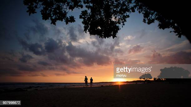 sunset and a silhouettes on a tropical beach - het grote eiland hawaï eilanden stockfoto's en -beelden