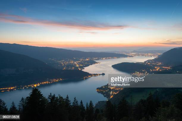 Sunset and blue hour in the 'Lac d'Annecy'