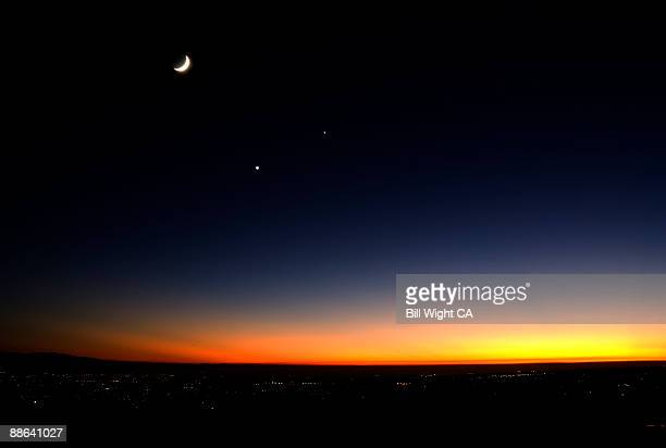 Sunset and Crescent Moon with Planets