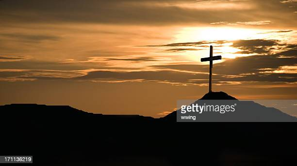 sunset and crucifix - images of jesus on the cross at calvary stock pictures, royalty-free photos & images
