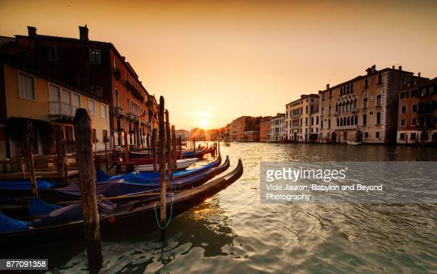 Sunset and Gondolas Along Grand Canal in Venice Italy
