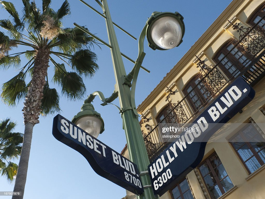 Sunset and Hollywood Boulevard Street Sign : Stock Photo