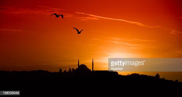 sunset and istanbul - sufism stock photos and pictures