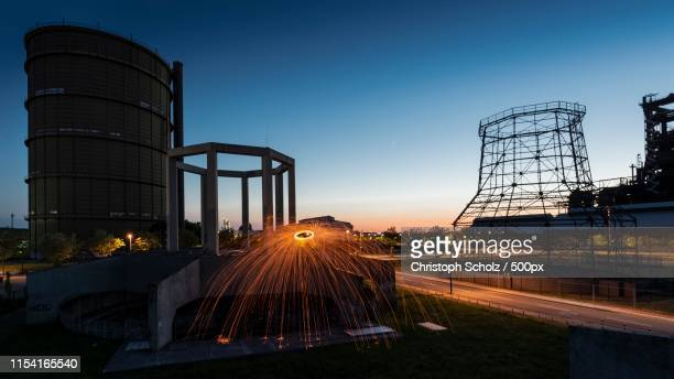 sunset and lightshow - dortmund city stock pictures, royalty-free photos & images