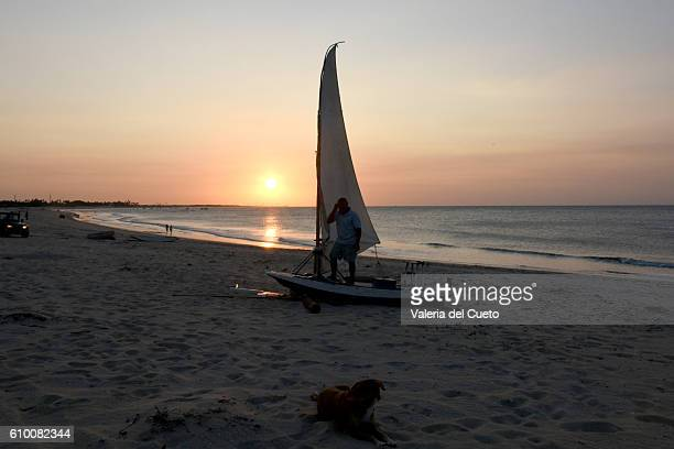 Sunset and raft