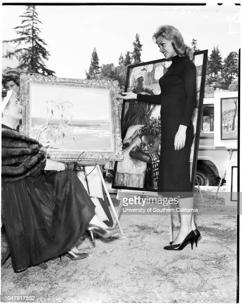 Sunset art exhibit, 14 June 1958. Gladys Robinson;Asa Maynor ;Claire Trevor;Marily Erickson .;Caption slip reads: 'Photographer: Mack. Date: ....