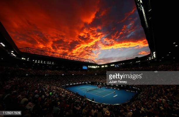 Sunset as Naomi Osaka of Japan competes in her Women's Singles Final match against Petra Kvitova of the Czech Republic during day 13 of the 2019...