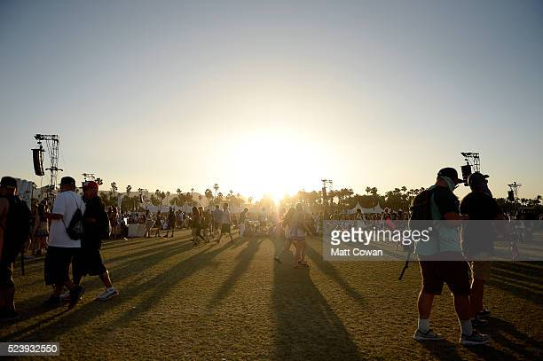 Sunset as seen during day 3 of the 2016 Coachella Valley Music Arts Festival Weekend 2 at the Empire Polo Club on April 24 2016 in Indio California