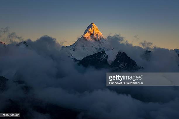 Sunset at Ama Dablam mountain peak
