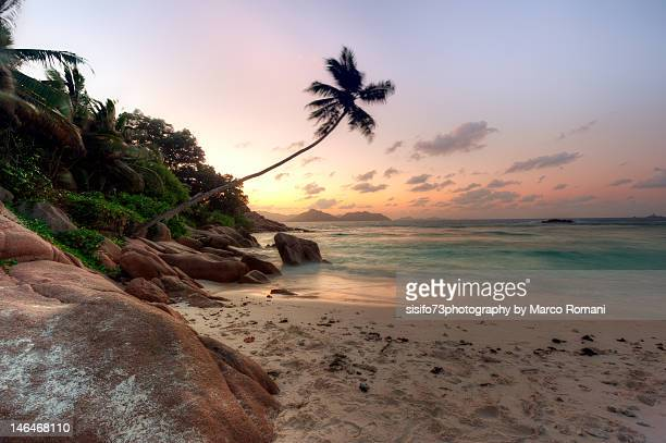 Sunset at Anse Severe beach, Seychelles