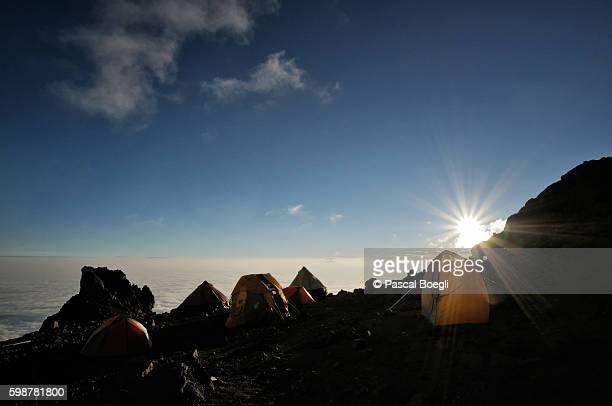 Sunset at Arrow Glacier Camp, Kilimanjaro National Park