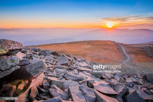 sunset at babia gora mountain - slovakia - babia góra mountain stock pictures, royalty-free photos & images
