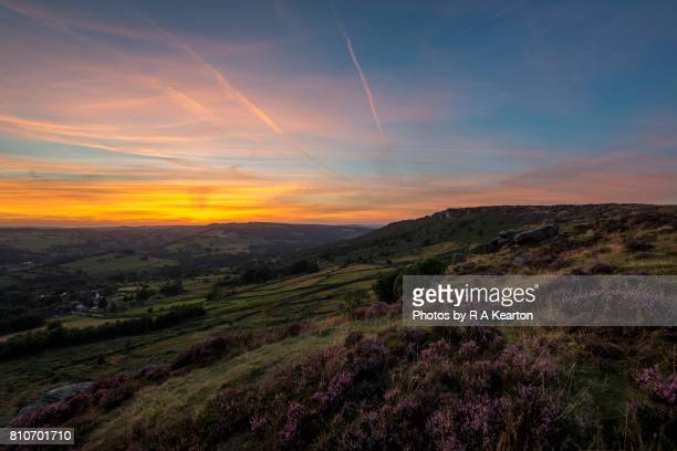 Sunset at Baslow edge in the Peak District, Derbyshire, England