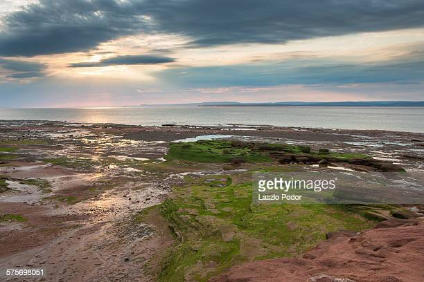 Sunset at Bay of Fundy at low tide
