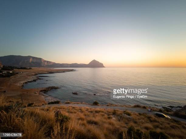sunset at belvedere di macari near san vito lo capo - golden hour stock pictures, royalty-free photos & images