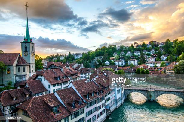 sunset at bern - european alps stock pictures, royalty-free photos & images