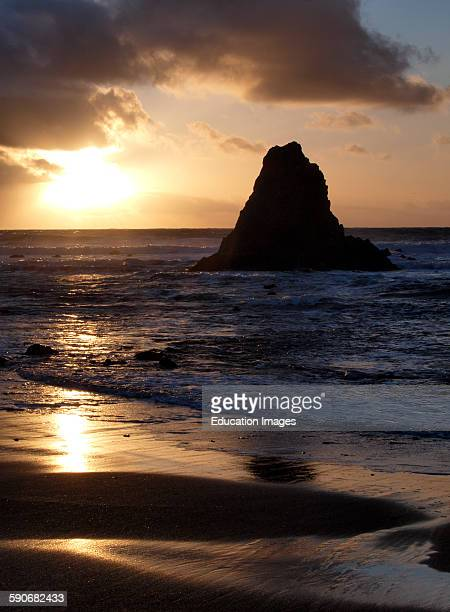 Sunset at Black Rock Widemouth Bay Bude Cornwall UK