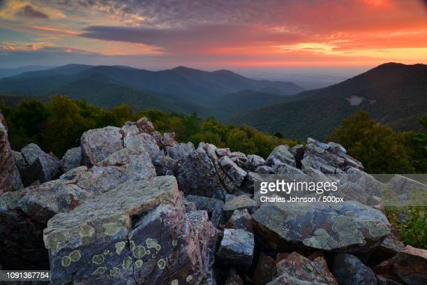 sunset at blackrock summit - blackrock stock pictures, royalty-free photos & images