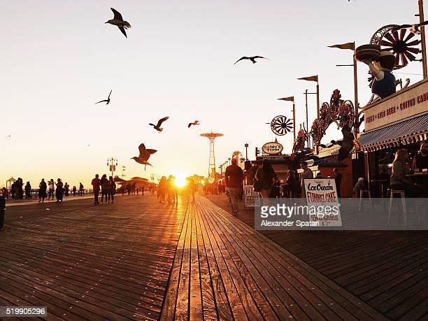 Sunset at Boardwalk, Brighton Beach, Brooklyn, New York City, NY, USA