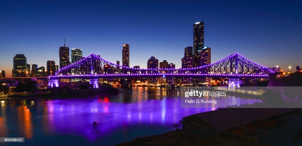 Sunset at Brisbane City View and Story Bridge, Queensland/ Australia : Stock Photo