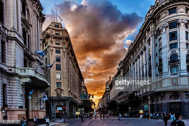 Sunset at Buenos Aires downtown