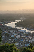 sunset at Chumphon estuary viewpoint, Thailand.