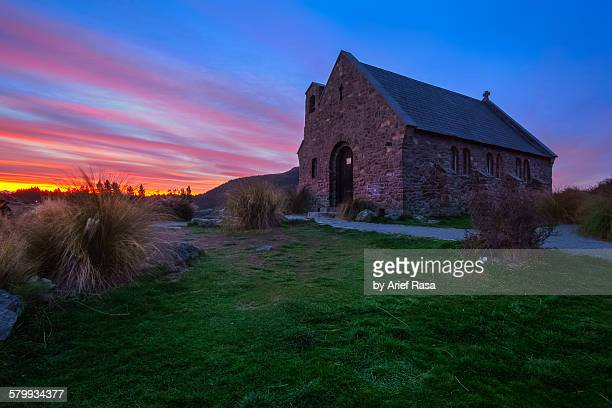 Sunset at church of good shepherd