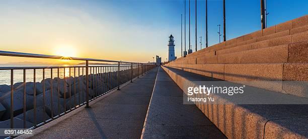 Sunset at city lighthouse