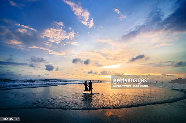sunset at cox-bazar - cox bazar sea beach stock pictures, royalty-free photos & images