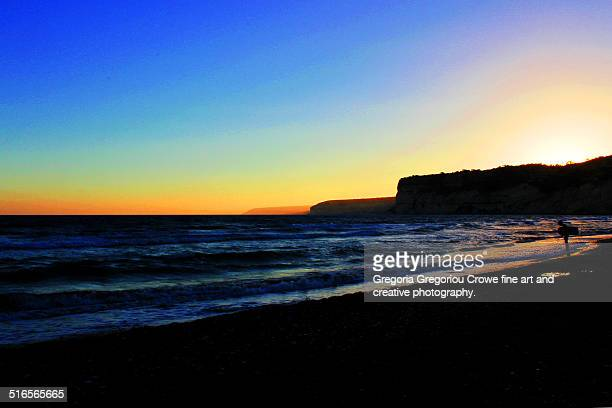 sunset at curium beach - gregoria gregoriou crowe fine art and creative photography stock-fotos und bilder