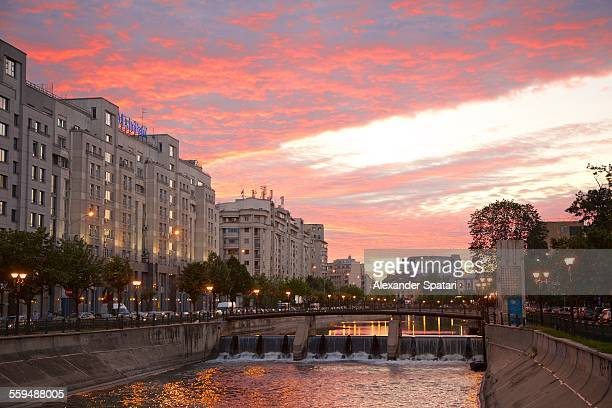 Sunset at Dambovita river in Bucharest, Romania