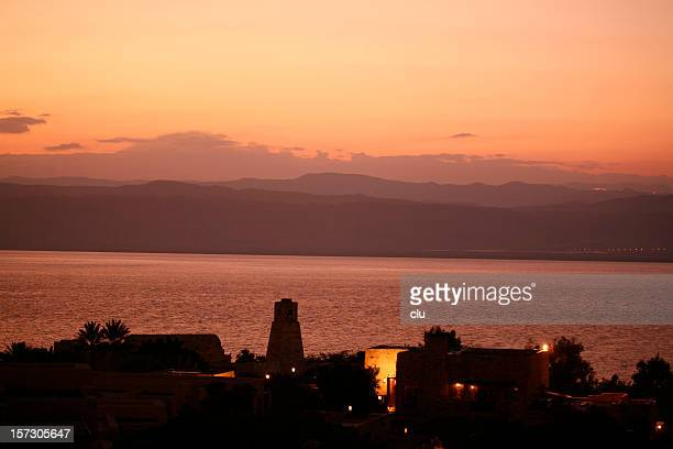 sunset at dead sea - tourist resort stock pictures, royalty-free photos & images