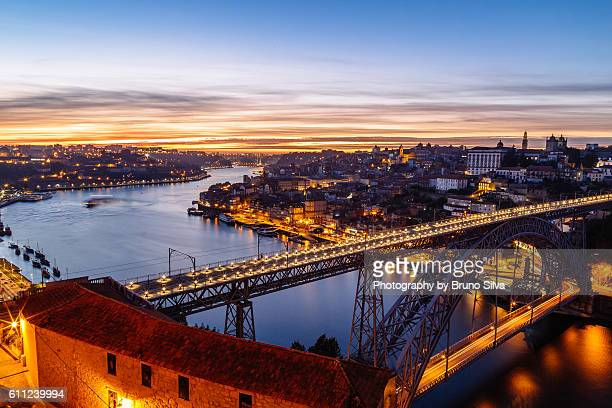 Sunset at Douro river with bridge Luís I at Porto, Portugal