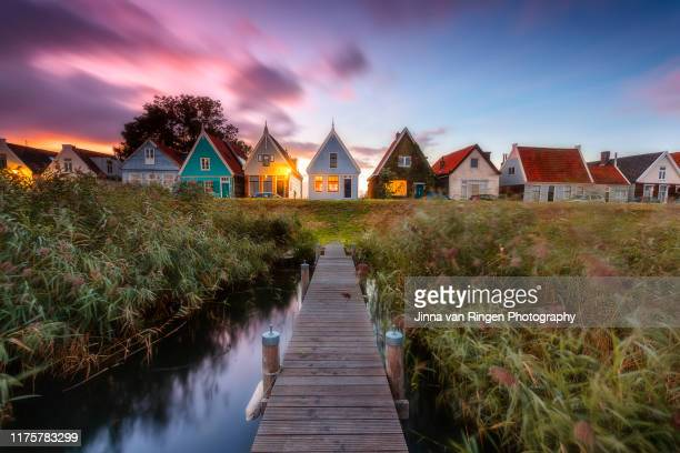 sunset at durgerdam historical town - netherlands stock pictures, royalty-free photos & images