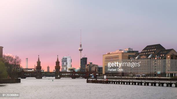 sunset at east harbour, berlin, germany - friedrichshain stock photos and pictures