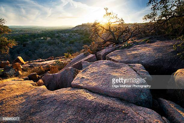 Sunset at Enchanted Rock State Park, Texas.
