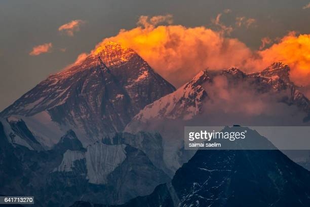Sunset at Everest mountain peak, From Gokyo Ri, Everest region