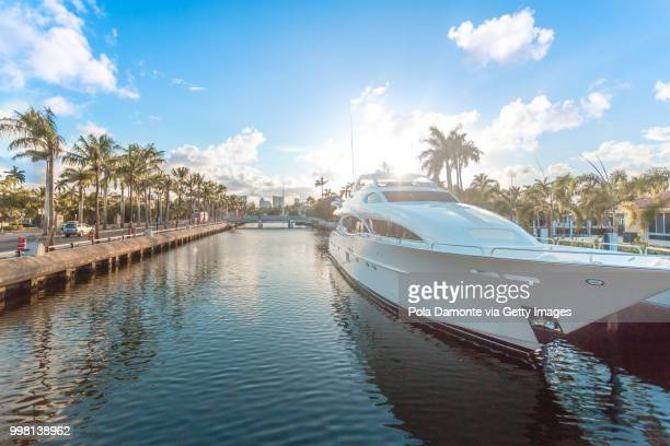 Sunset at Fort Lauderdale canals. Luxury yachts in Las Olas Boulevard, Florida, USA