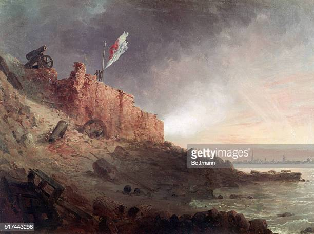 Sunset at Fort Sumter after the Federal bombardment of 1863 Painting by Conrad Wise Chapman