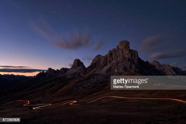 Sunset at Giau Pass, italian dolomites mountains