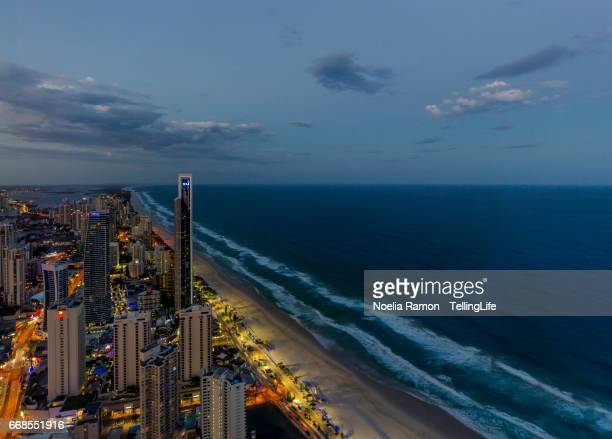 Sunset at Gold Coast with surfers paradise