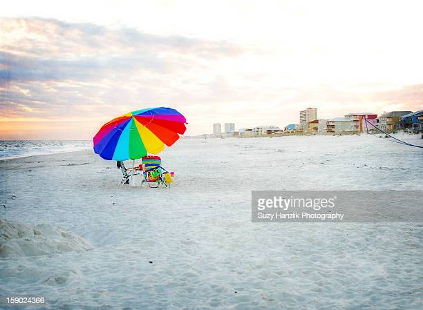 sunset at Gulf Shores, Al beach with umbrella