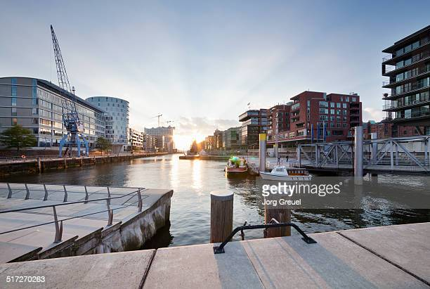 sunset at hafencity - hamburg germany stock pictures, royalty-free photos & images