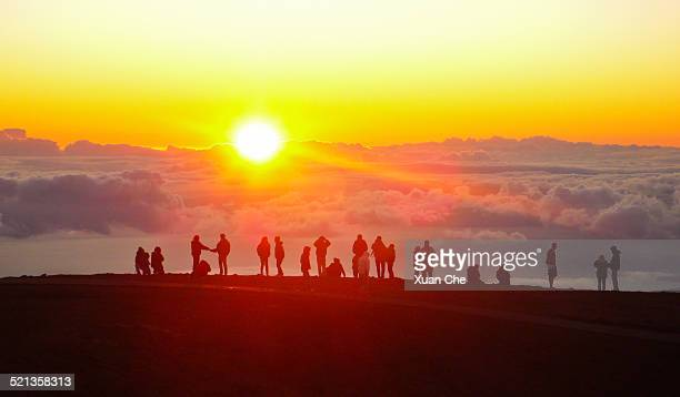 sunset at haleakala national park - xuan che stock pictures, royalty-free photos & images