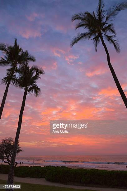 sunset at hapuna beach - hapuna beach stock photos and pictures