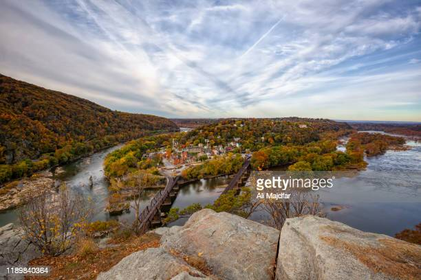 sunset at harpers ferry - potomac maryland stock pictures, royalty-free photos & images