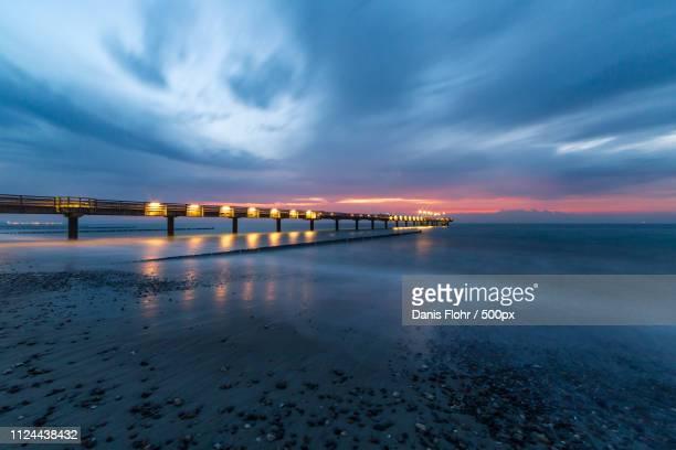 sunset at heiligendamm - heiligendamm stock photos and pictures