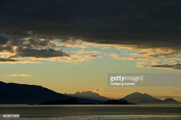 Sunset at Holkham Bay near Juneau Tongass National Forest Alaska USA